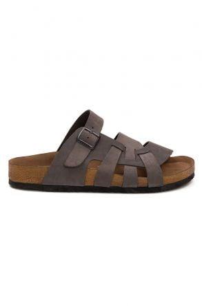 Pegia Men's Genuine Leather Slippers 215026 Gray