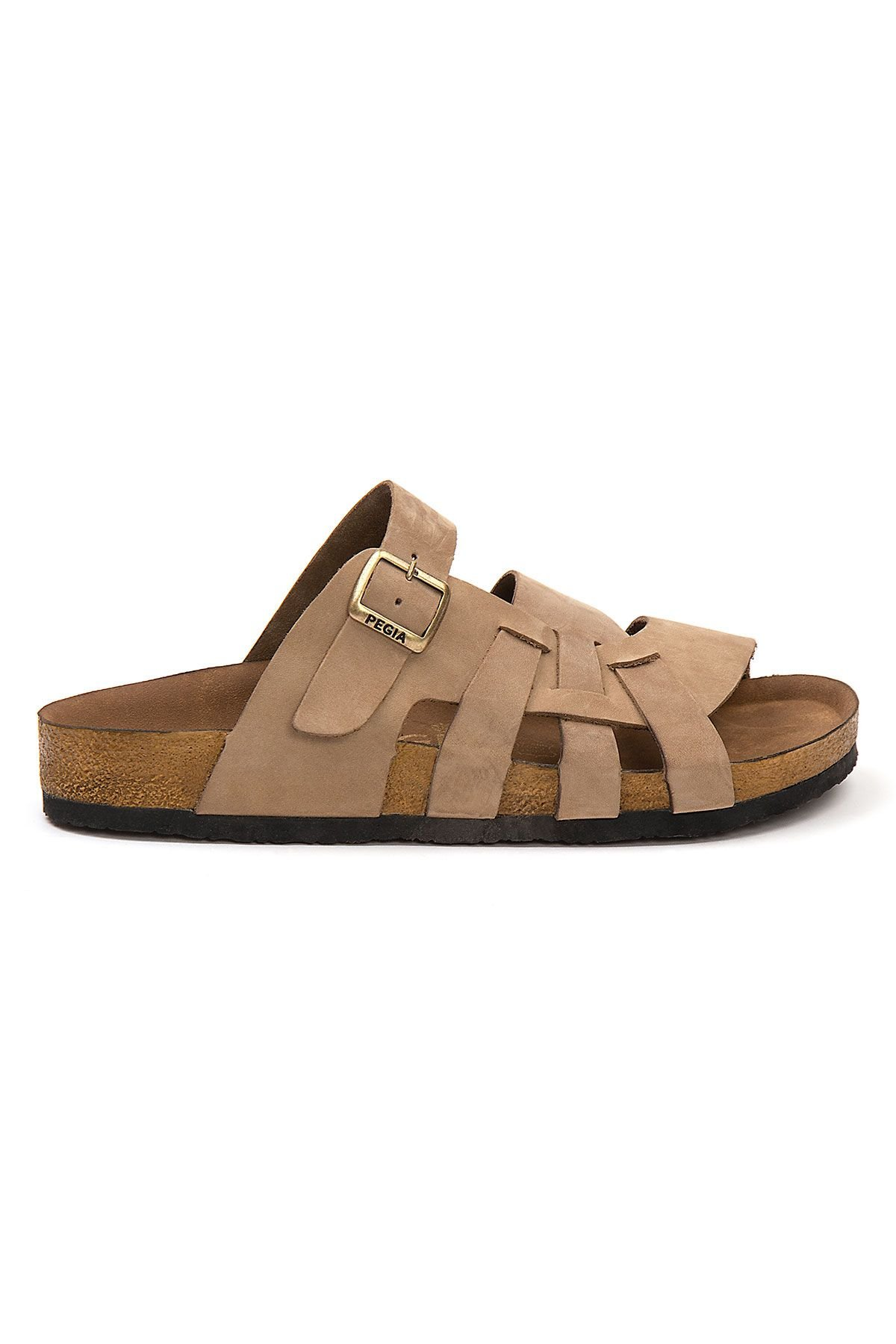 Pegia Men's Genuine Leather Slippers 215026 Sand-colored
