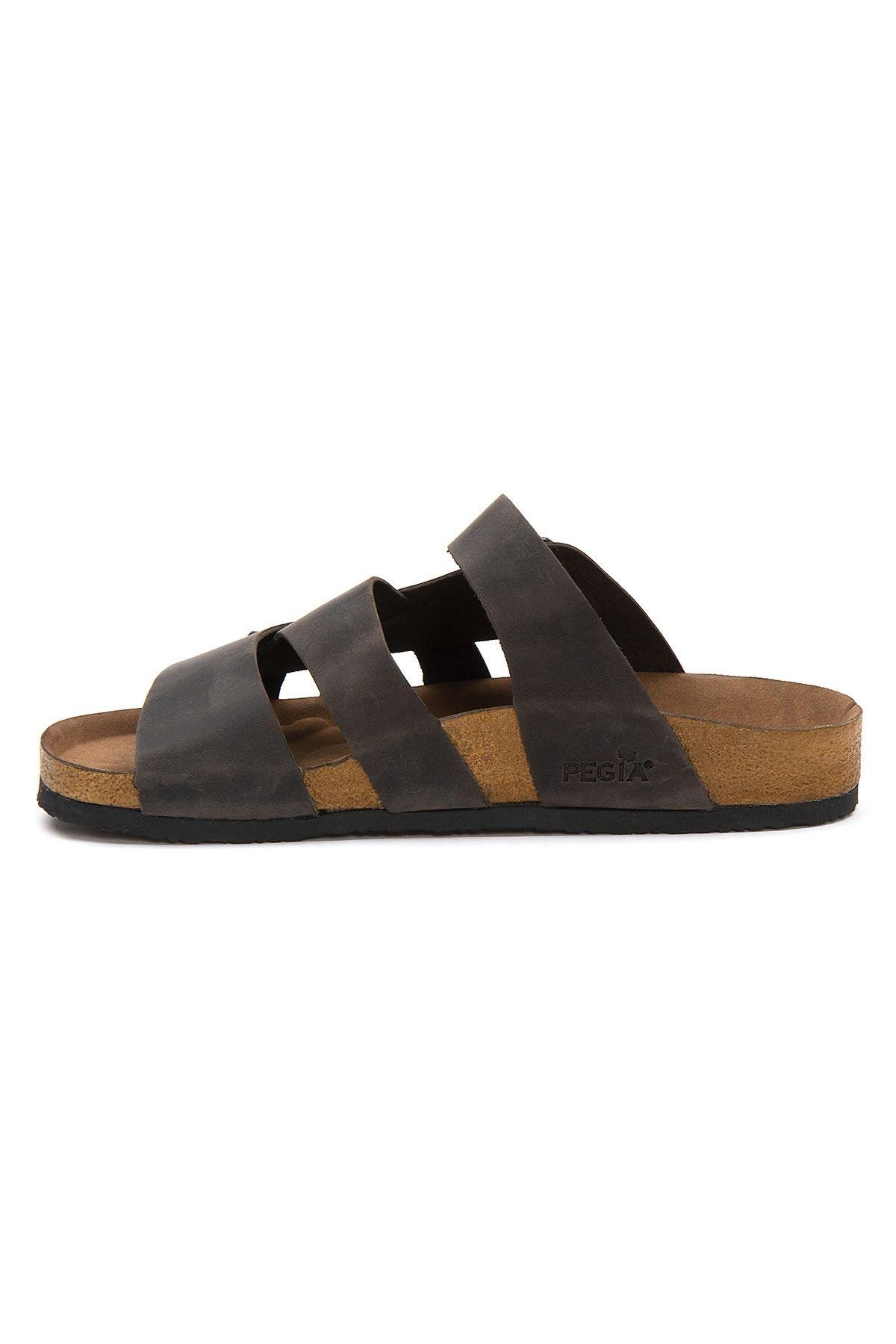 Pegia Men's Genuine Leather Slippers 215026 Anthracite-colored