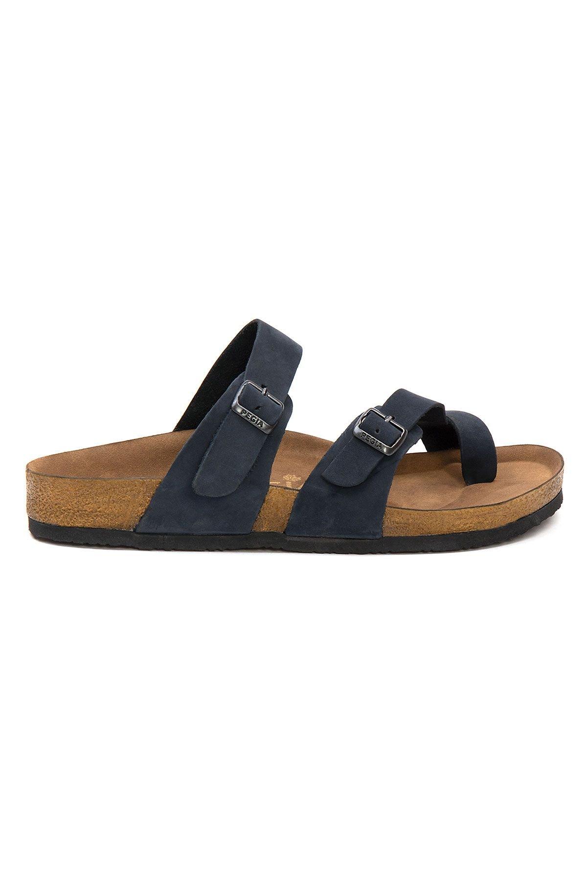 Pegia Genuine Leather Men's Slippers 215022 Navy blue