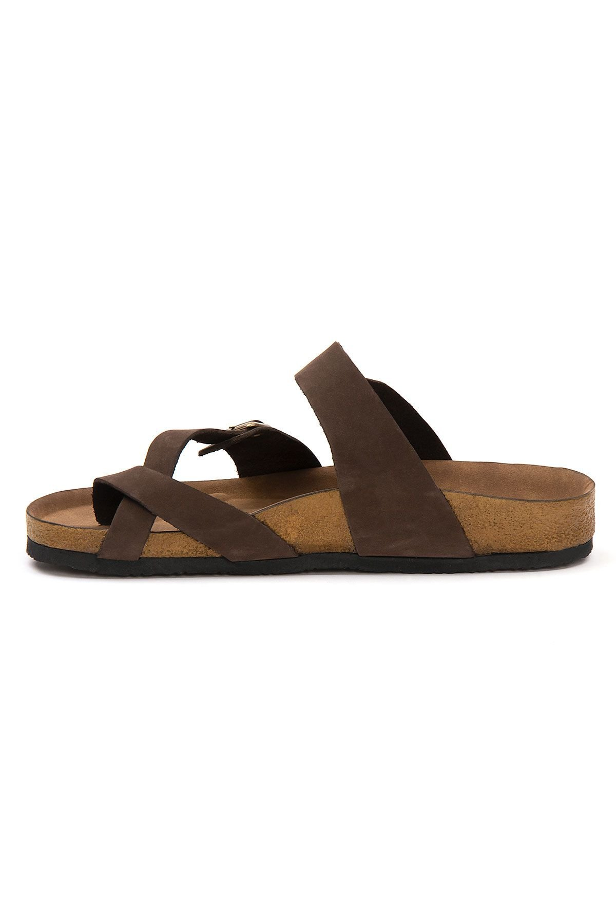 Pegia Genuine Leather Men's Slippers 215022 Brown