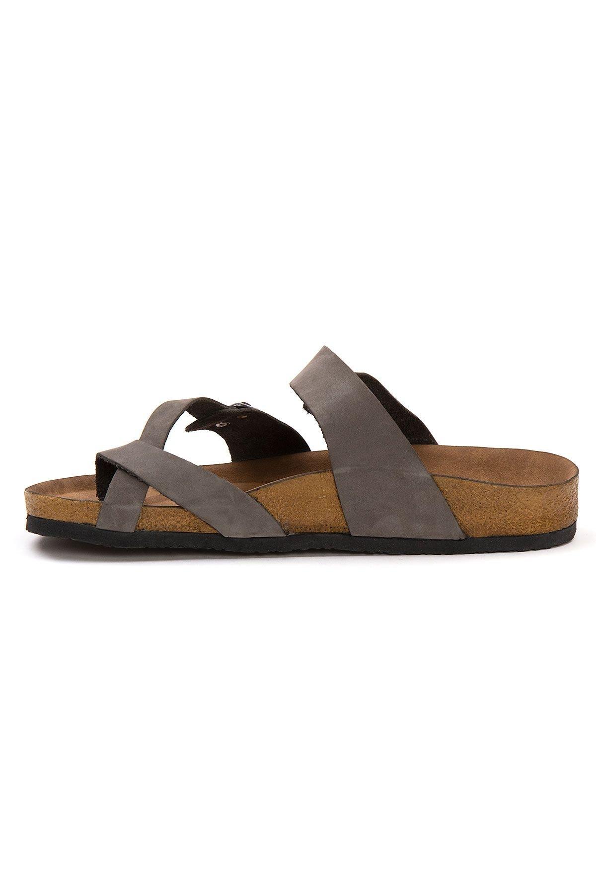 Pegia Genuine Leather Men's Slippers 215022 Gray