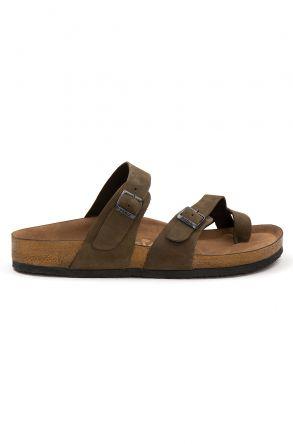 Pegia Genuine Leather Men's Slippers 215022 Khaki