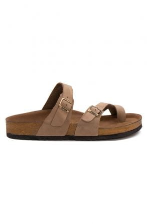 Pegia Genuine Leather Men's Slippers 215022 Sand-colored