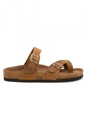 Pegia Genuine Leather Men's Slippers 215022 Ginger