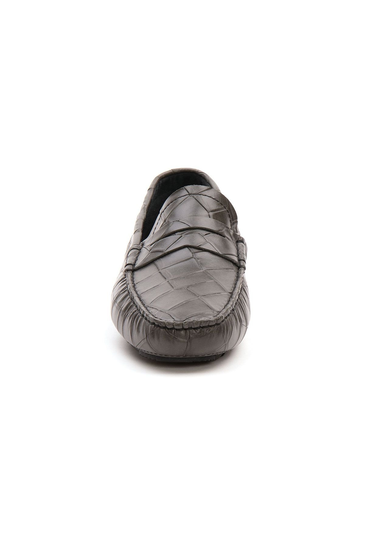 Pegia Genuine Leather Men's Loafer Shoes 500902 Gray