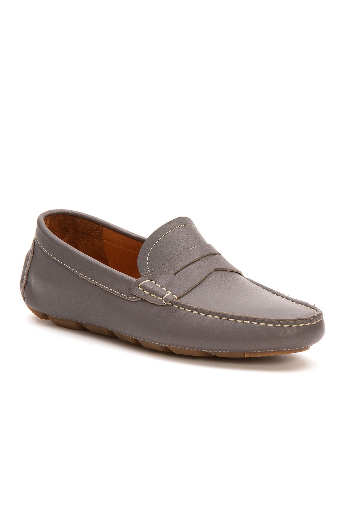 Pegia Genuine Leather Men's Loafer Shoes 500905 Gray