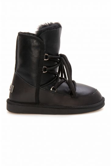 Pegia Shoelaced Genuine Leather & Shearling Women's Boots 191080 Black