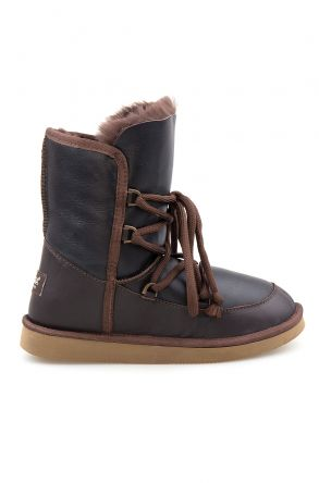 Pegia Shoelaced Genuine Leather & Shearling Women's Boots 191080 Brown