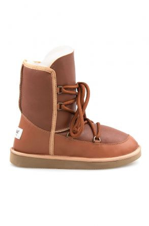 Pegia Shoelaced Genuine Leather & Shearling Women's Boots 191080 Ginger