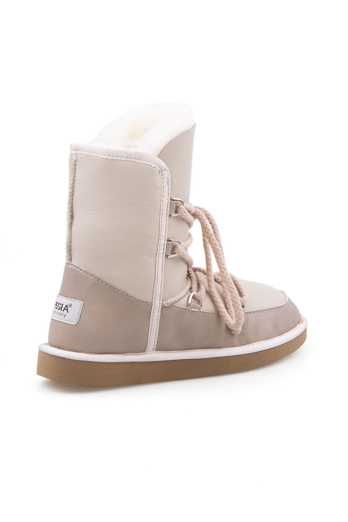 Pegia Shoelaced Genuine Leather & Shearling Women's Boots 191080 Beige