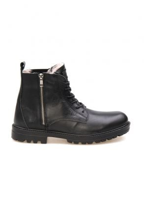 Pegia Shoelaced Genuine Leather & Shearling Men's Boots 206001 Black