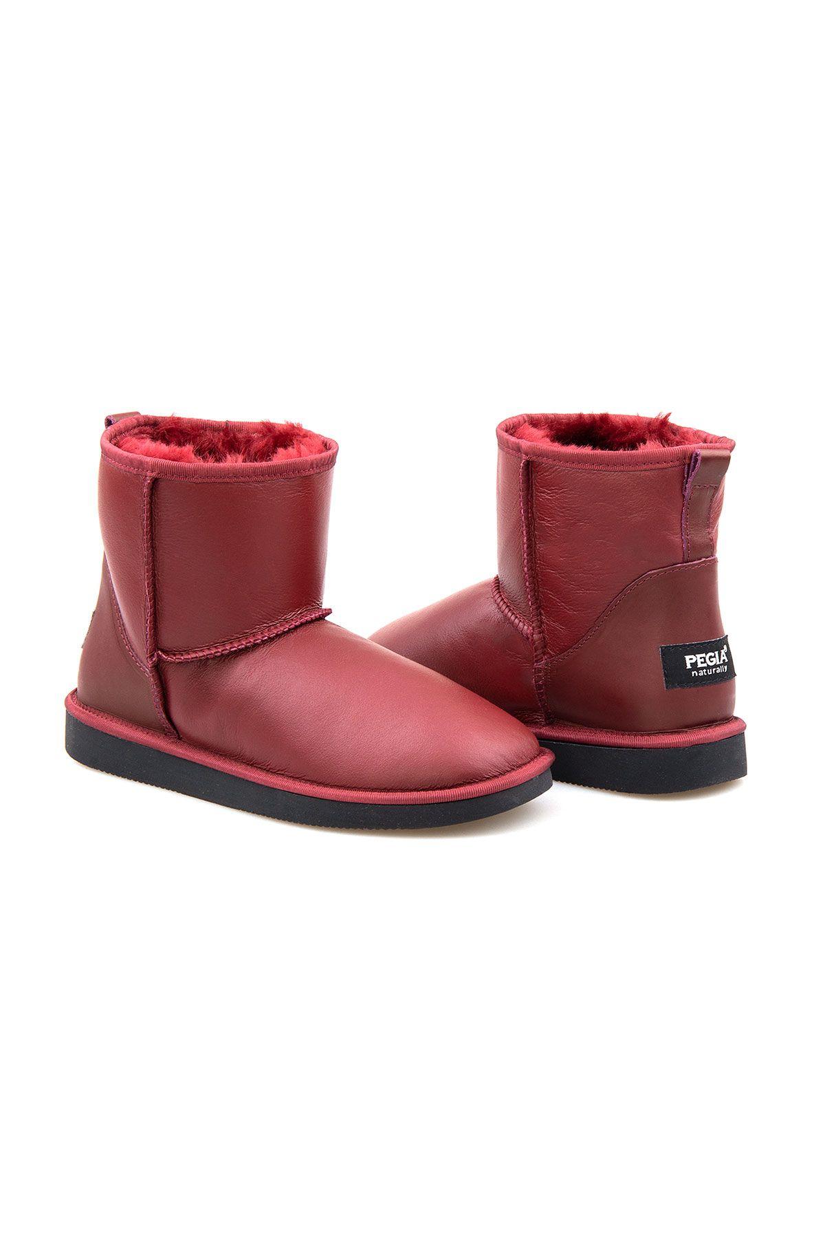 Pegia Women's Sheepskin Boots 191022 Claret red