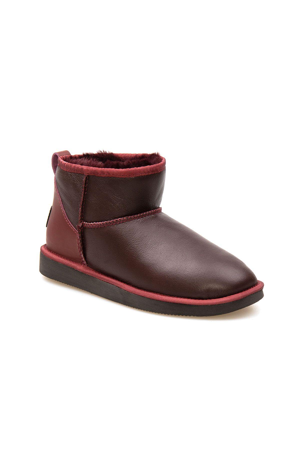 Pegia Genuine Leather Women's Mini Boots 191131 Claret red