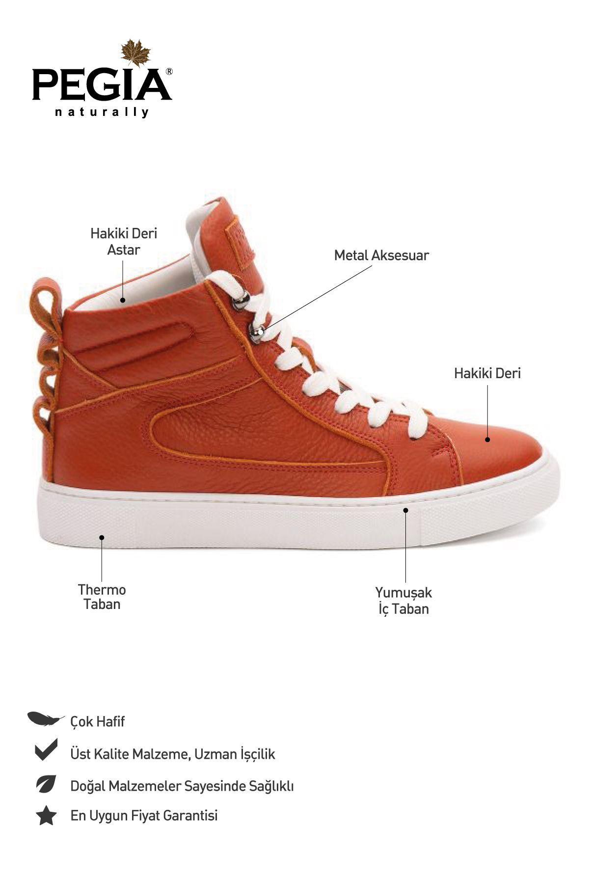 Pegia Genuine Leather Women's Sneaker LA1218 Orange