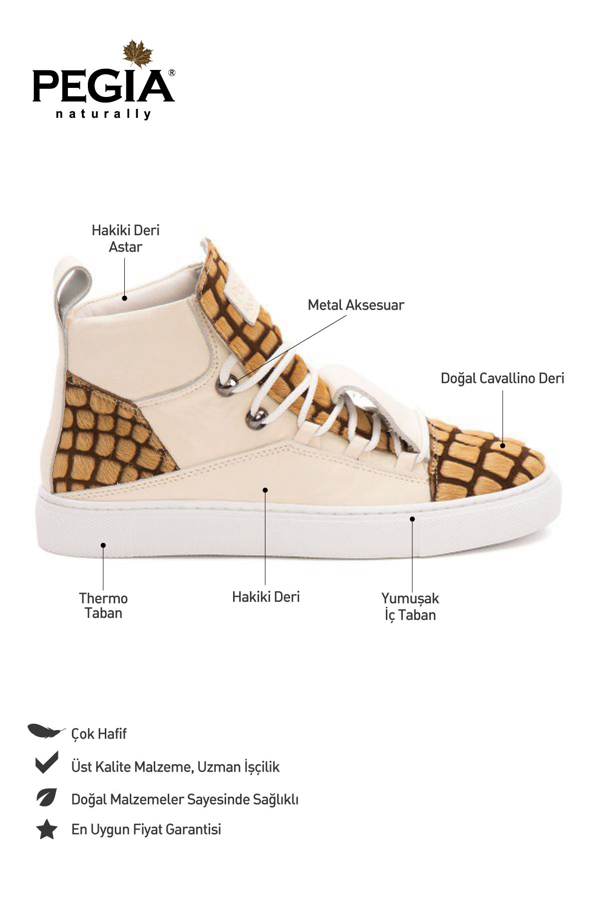 Pegia Genuine Leather Women's Sneaker LA1328 Brown