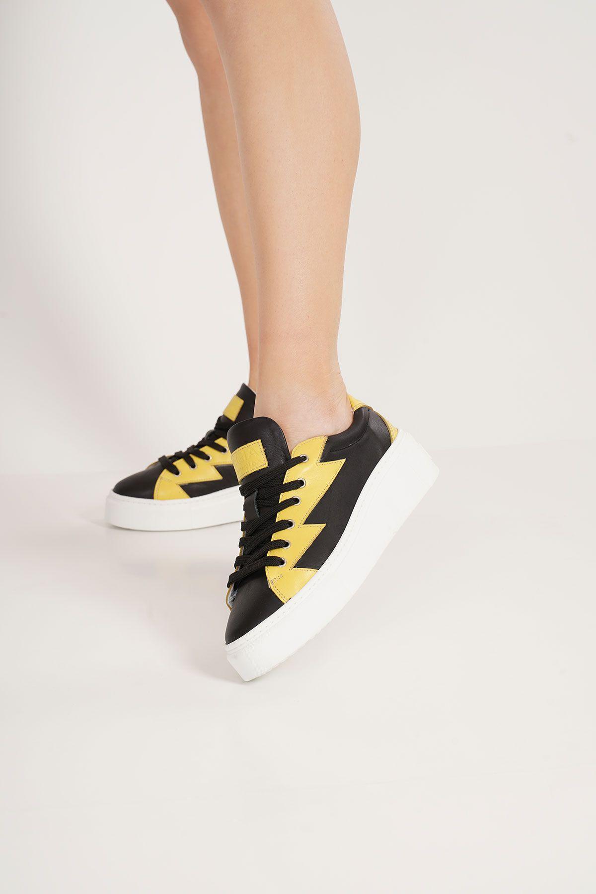 Pegia Genuine Leather Women's Sneaker LA1506 Black