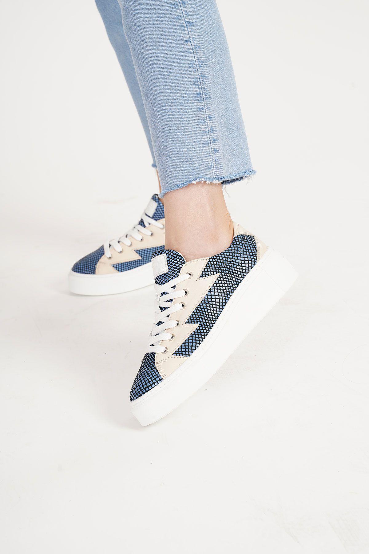 Pegia Genuine Leather Women's Sneaker LA1507 Blue