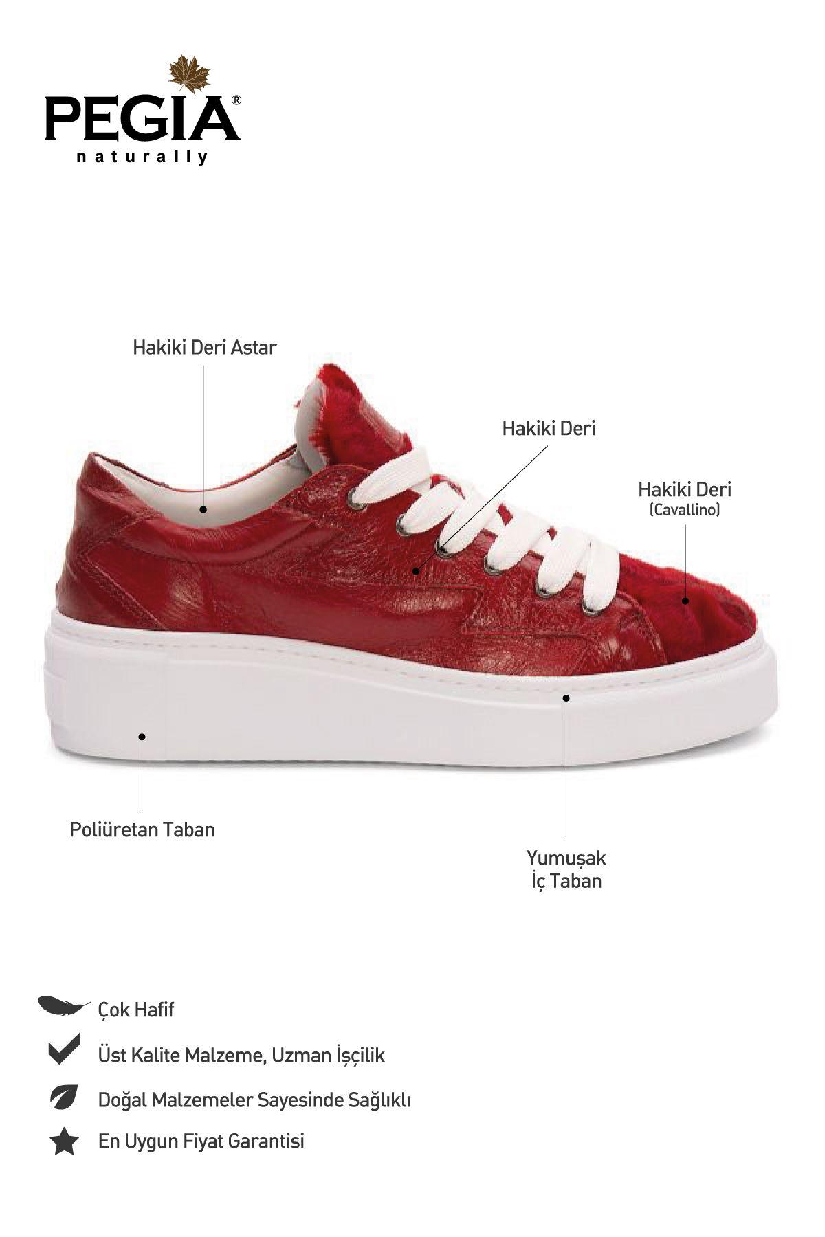 Pegia Genuine Leather Women's Sneaker LA1509 Red
