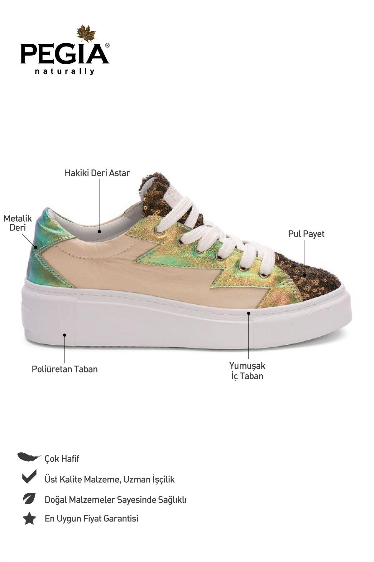 Pegia Genuine Leather Women's Sneaker LA1512 Bronze