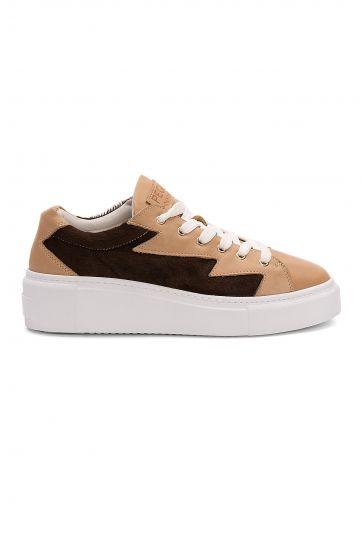 Pegia Genuine Leather Women's Sneaker LA1516 Beige