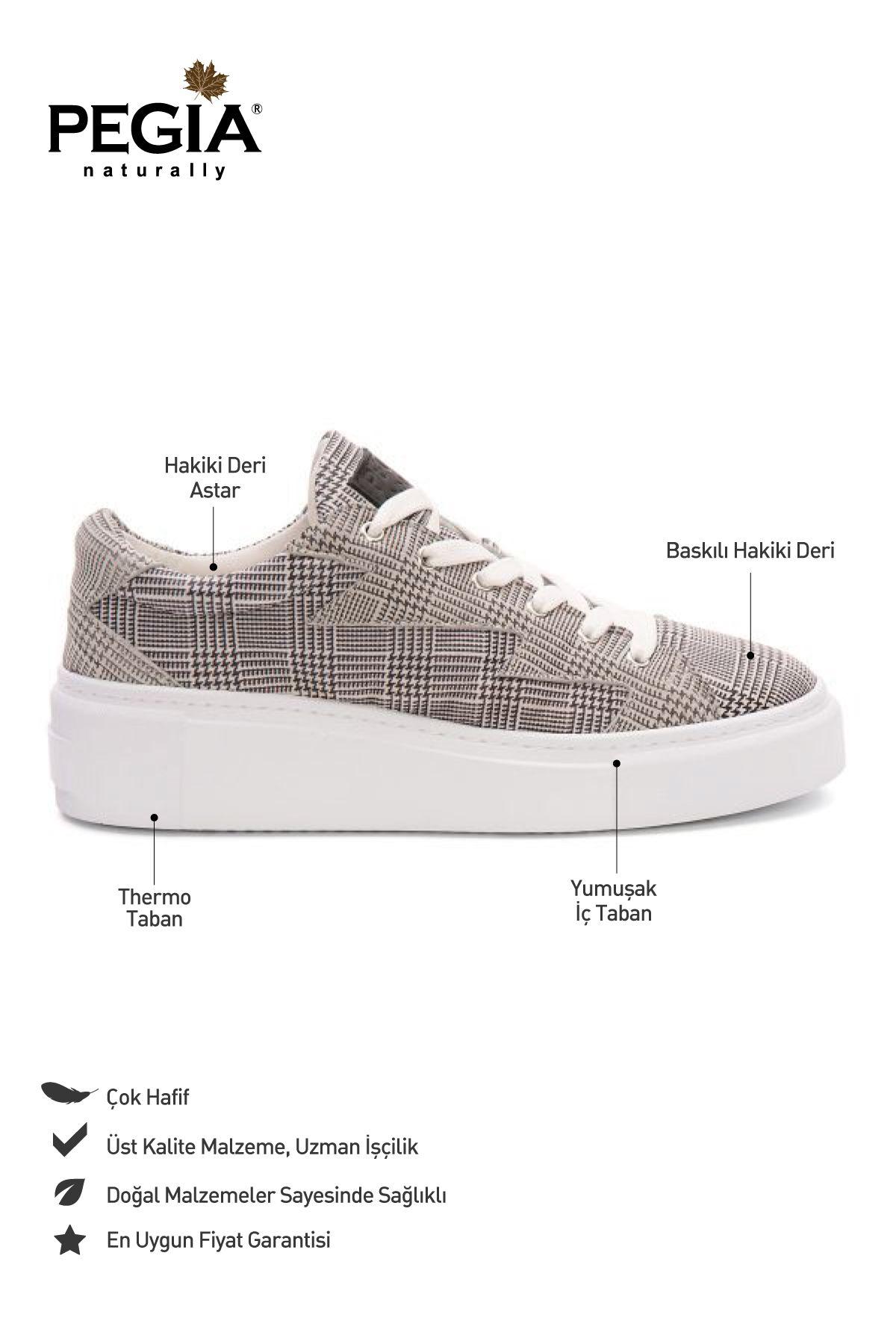 Pegia Genuine Leather Women's Sneaker LA1522 Gray