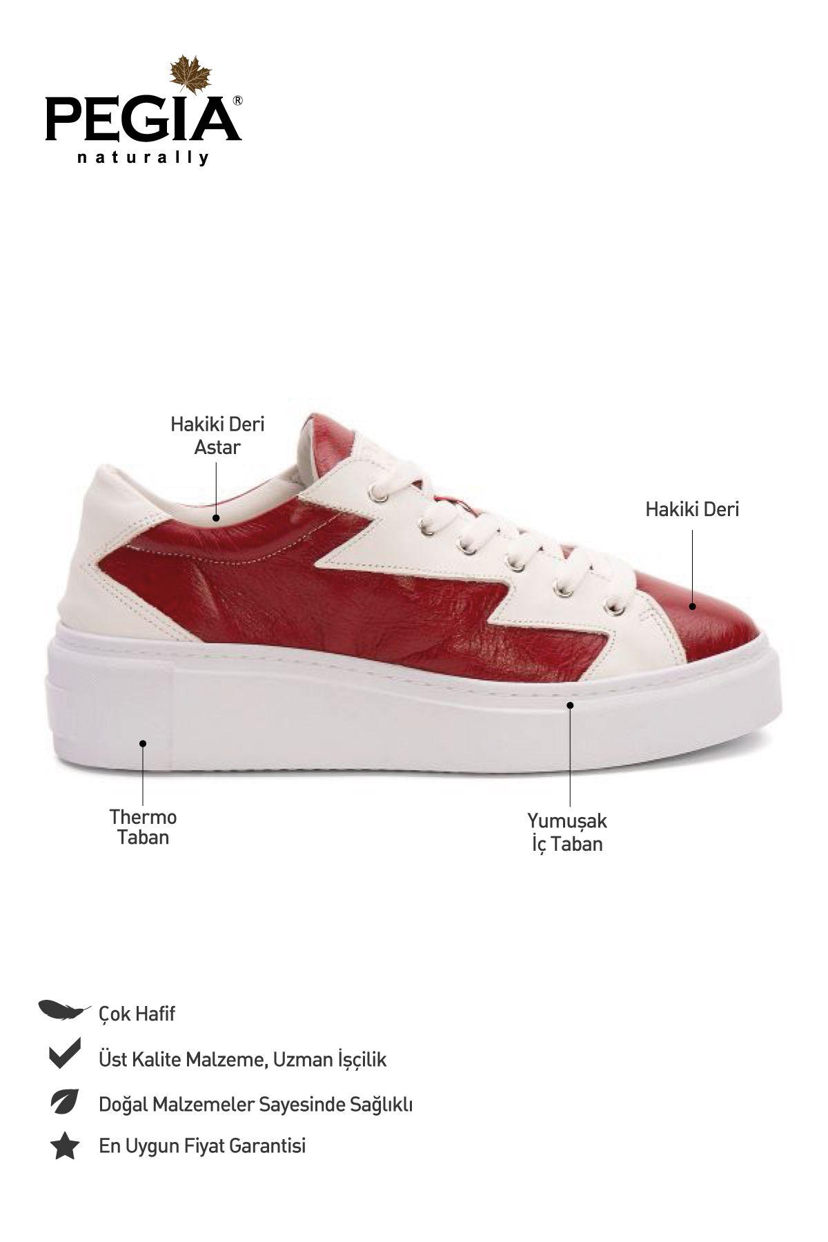 Pegia Genuine Leather Women's Sneaker LA1526 Claret red