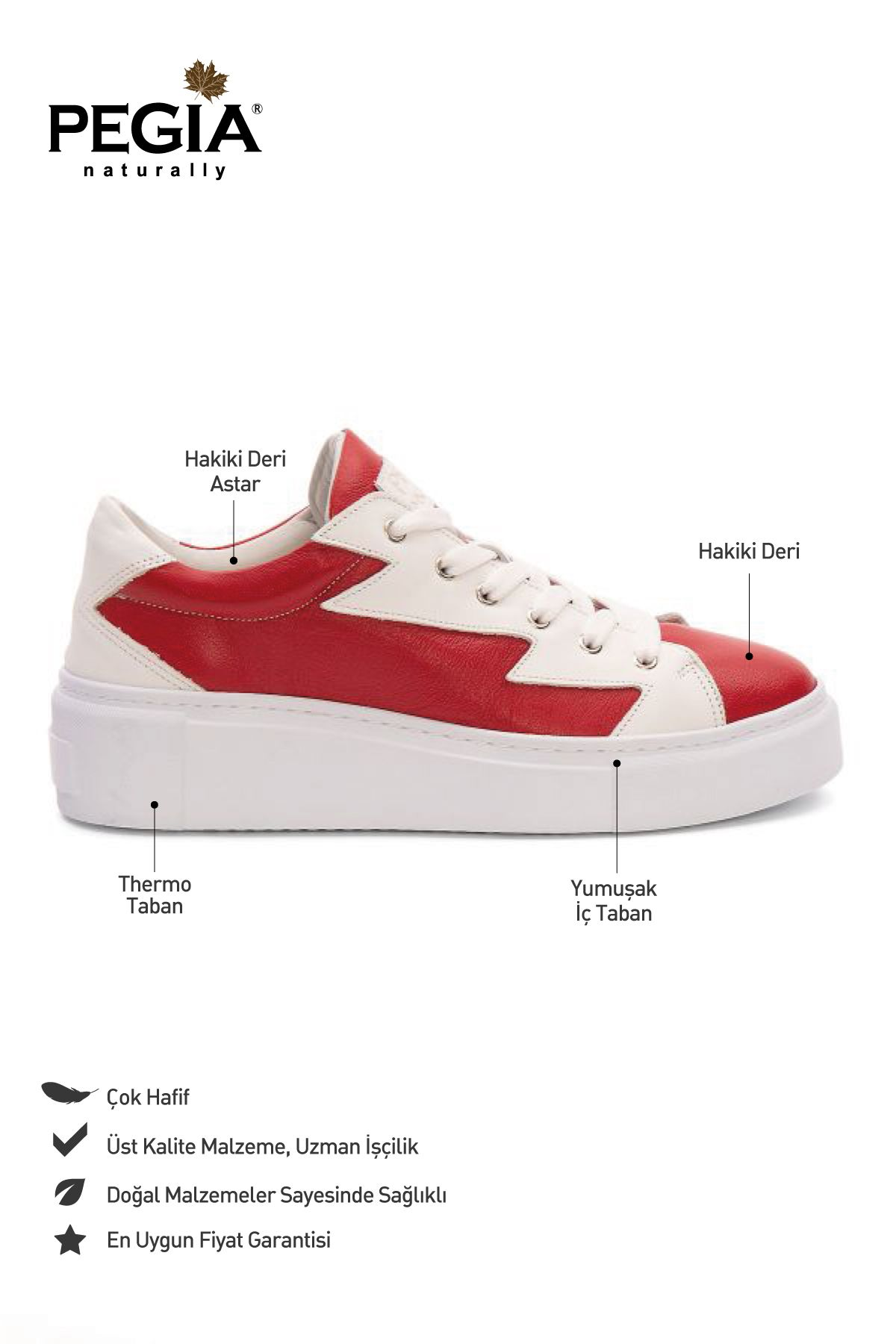 Pegia Genuine Leather Women's Sneaker LA1527 Red
