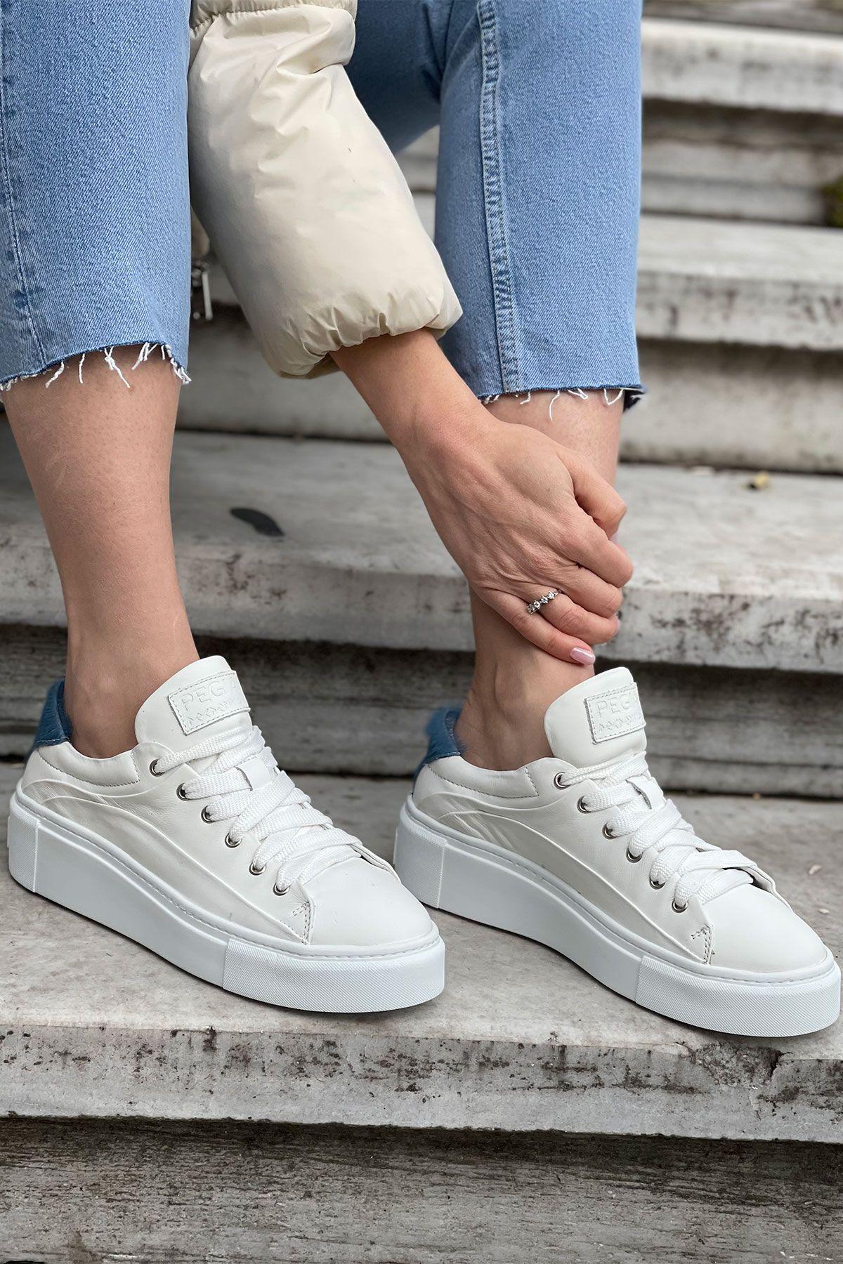 Pegia Genuine Leather Women's Sneaker LA1605 Blue