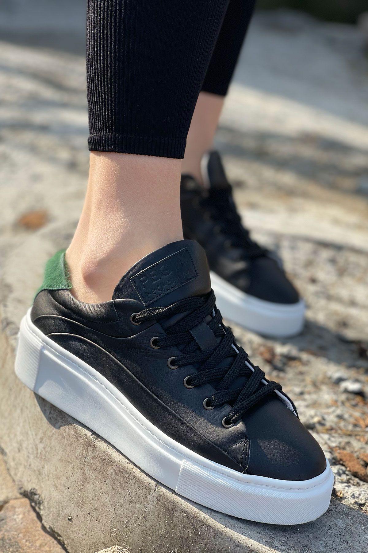Pegia Genuine Leather Women's Sneaker LA1606 Black