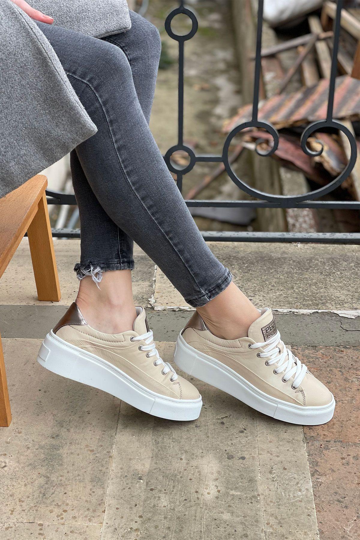 Pegia Genuine Leather Women's Sneaker LA1608 Beige