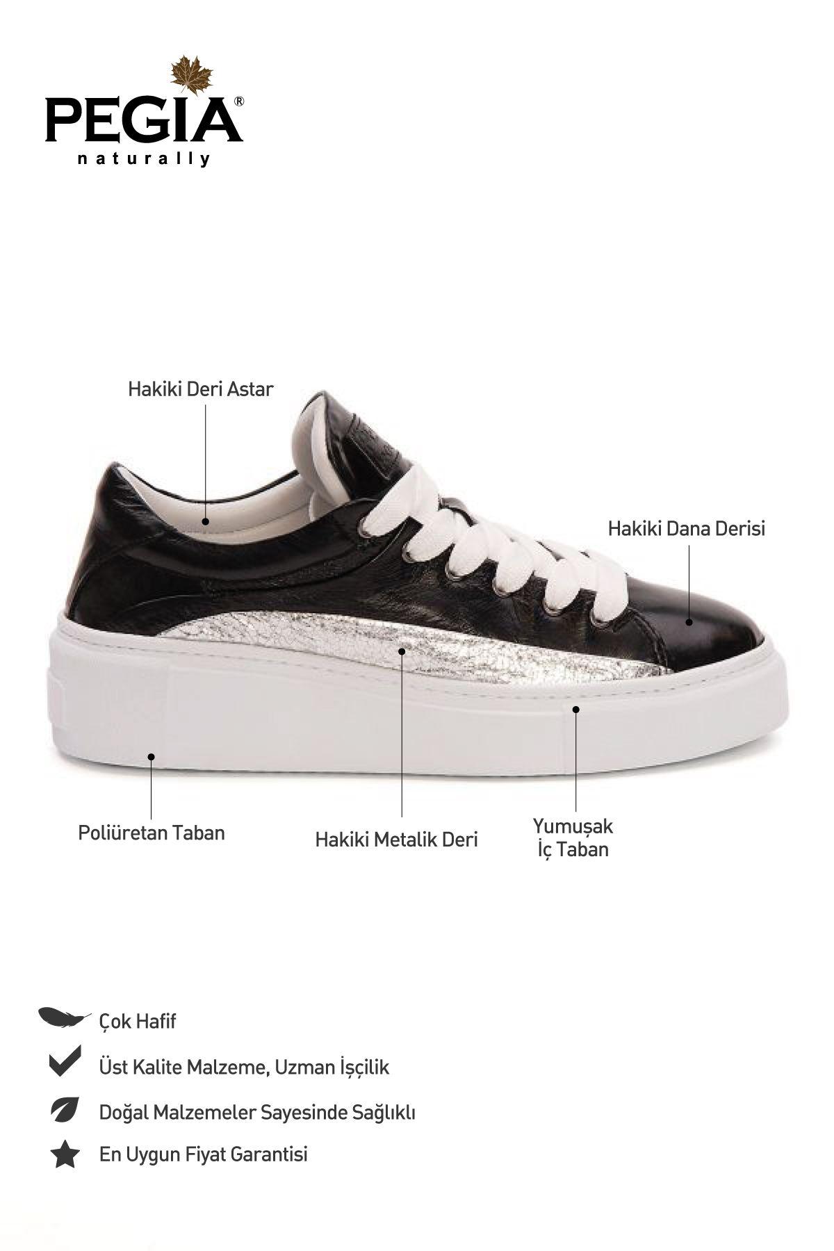 Pegia Genuine Leather Women's Sneaker LA1612 Black