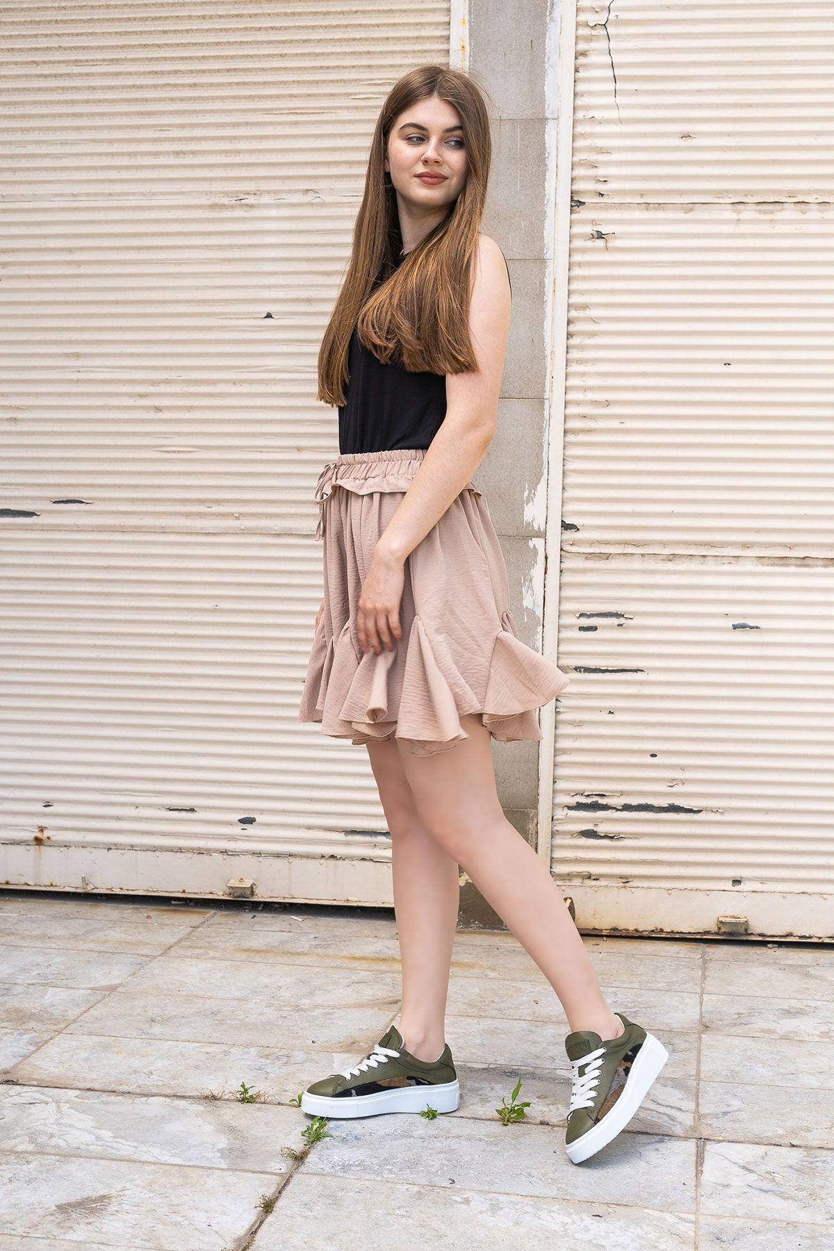Pegia Genuine Leather Women's Sneaker LA1615 Khaki