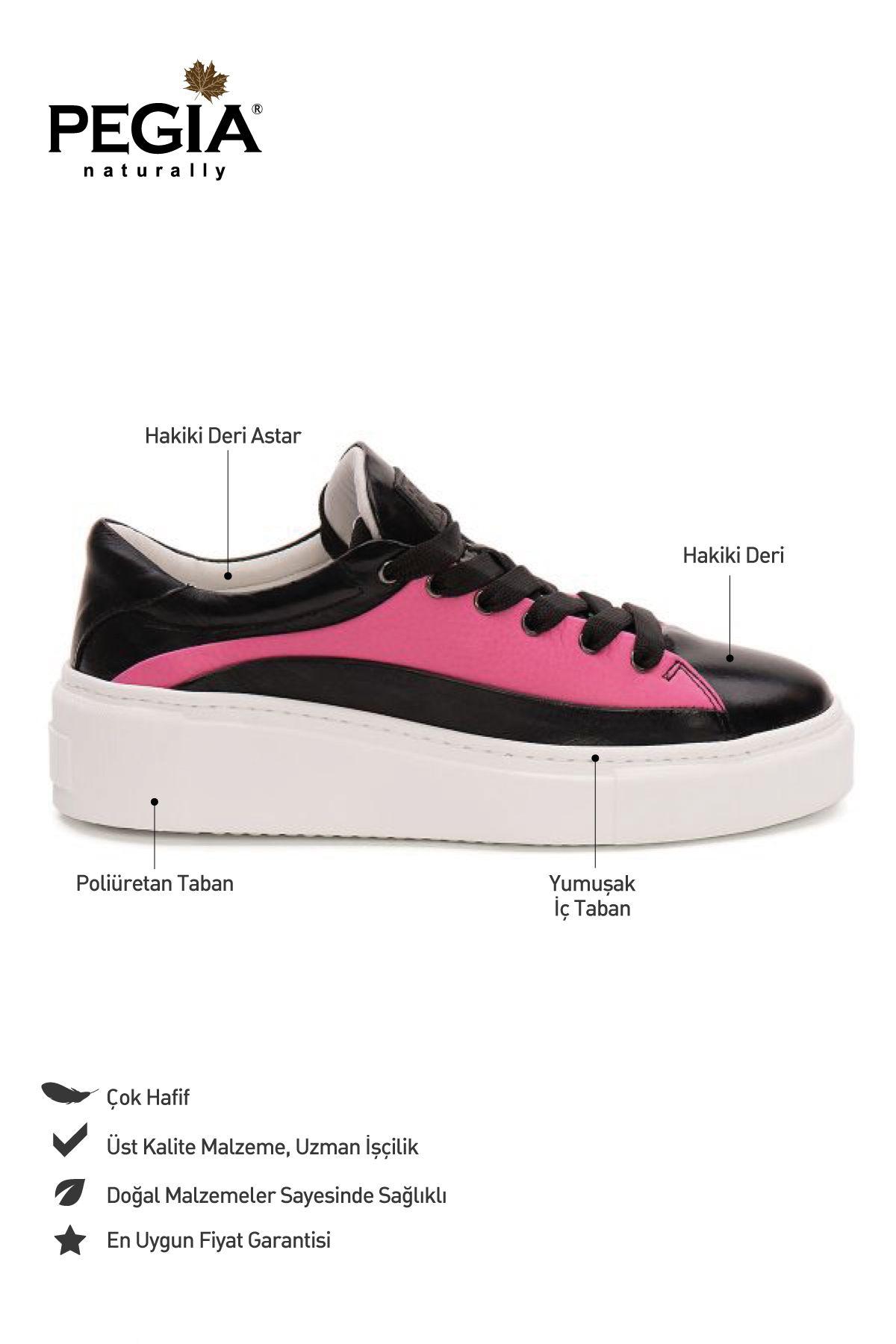 Pegia Genuine Leather Women's Sneaker LA1618 Black