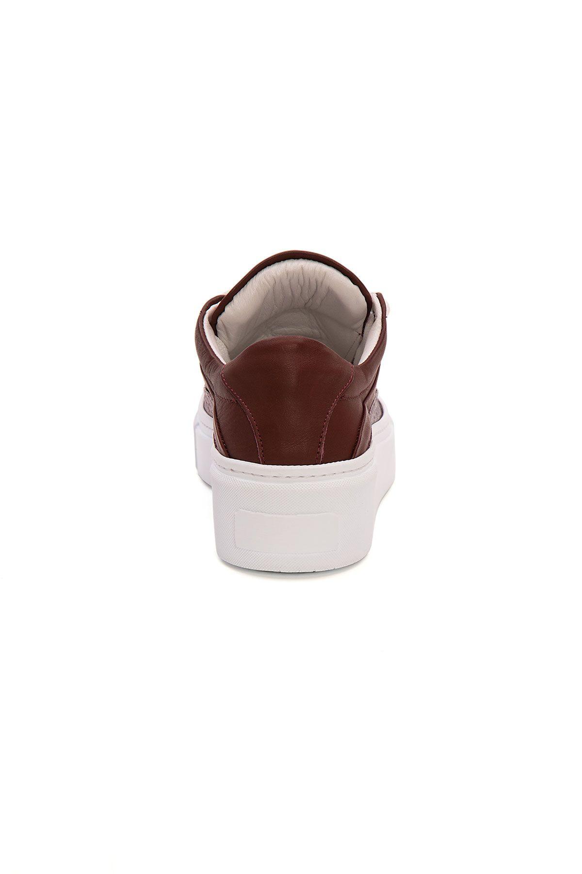 Pegia Genuine Leather Women's Sneaker LA1619 Claret red