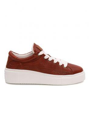 Pegia Genuine Leather Women's Sneaker LA1621 Brown