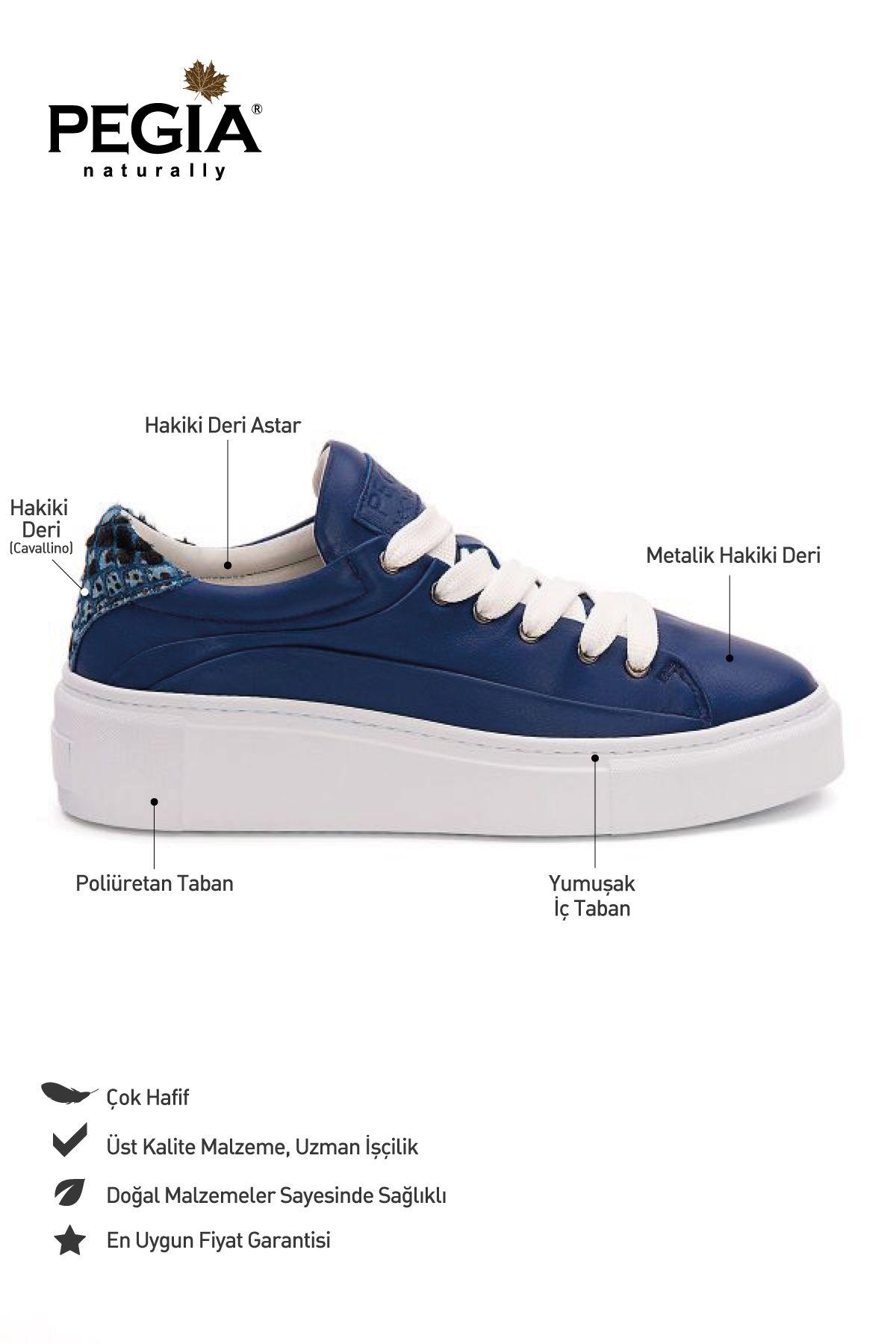 Pegia Genuine Leather Women's Sneaker LA1623 Navy blue