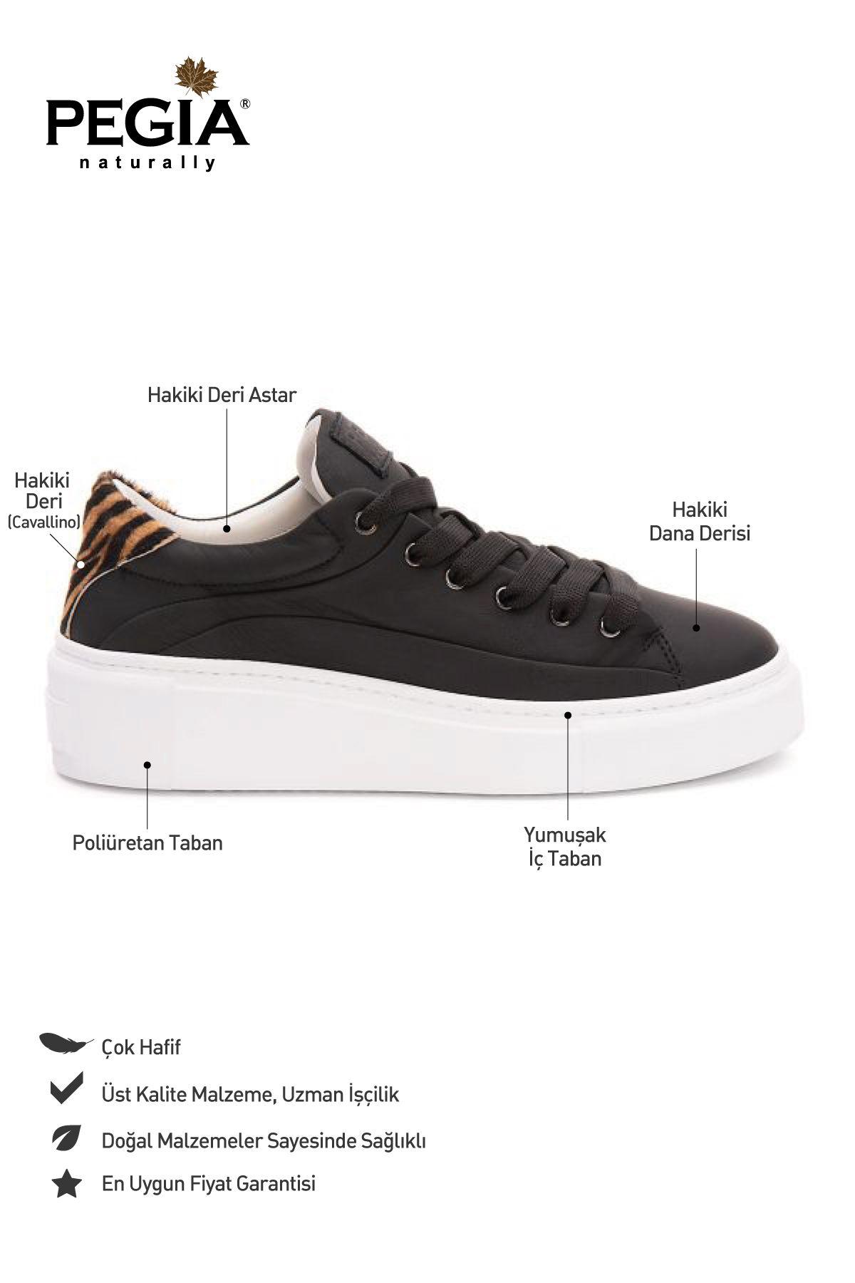 Pegia Genuine Leather Women's Sneaker LA1624 Black
