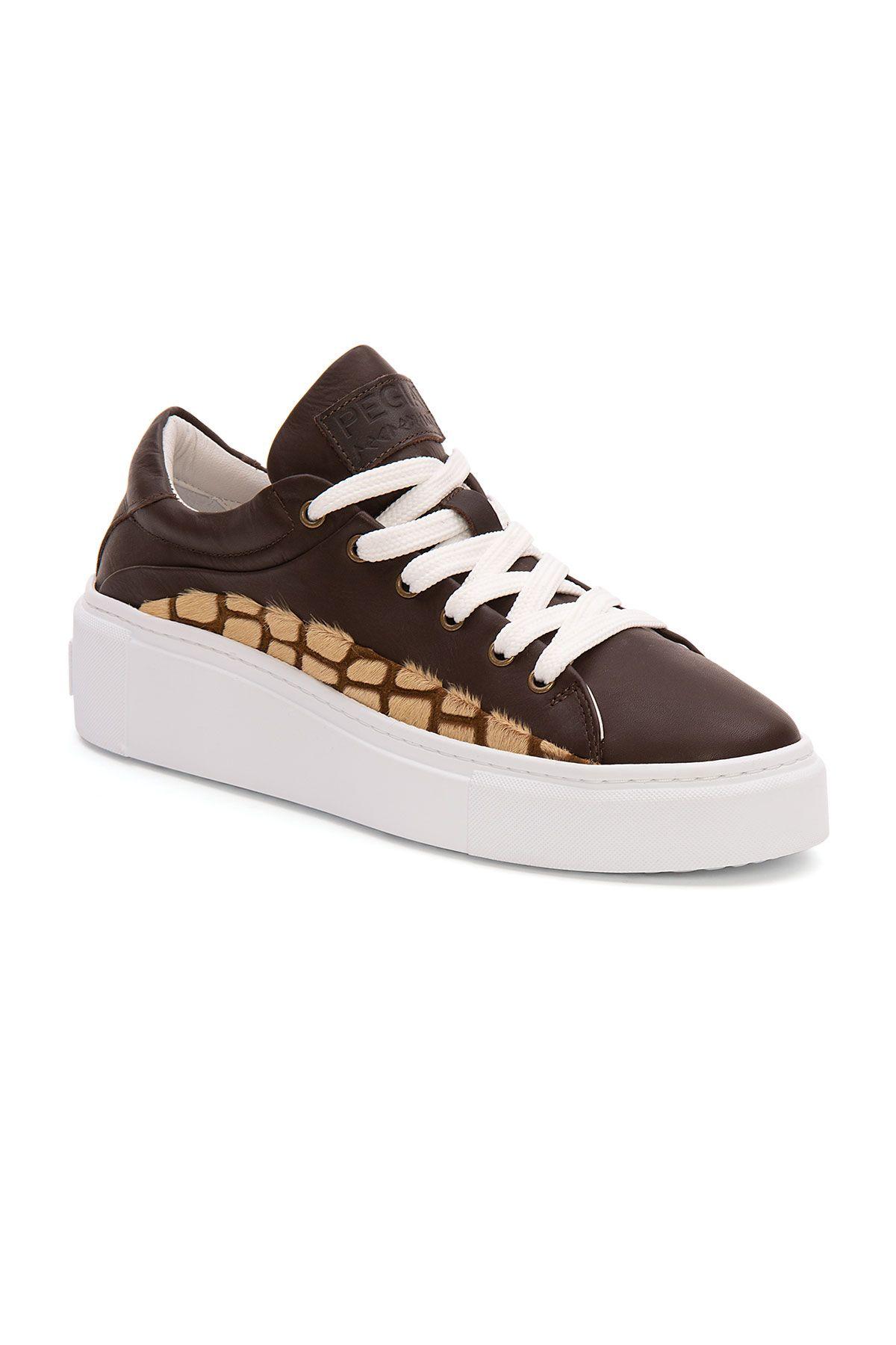 Pegia Genuine Leather Women's Sneaker LA1625 Brown