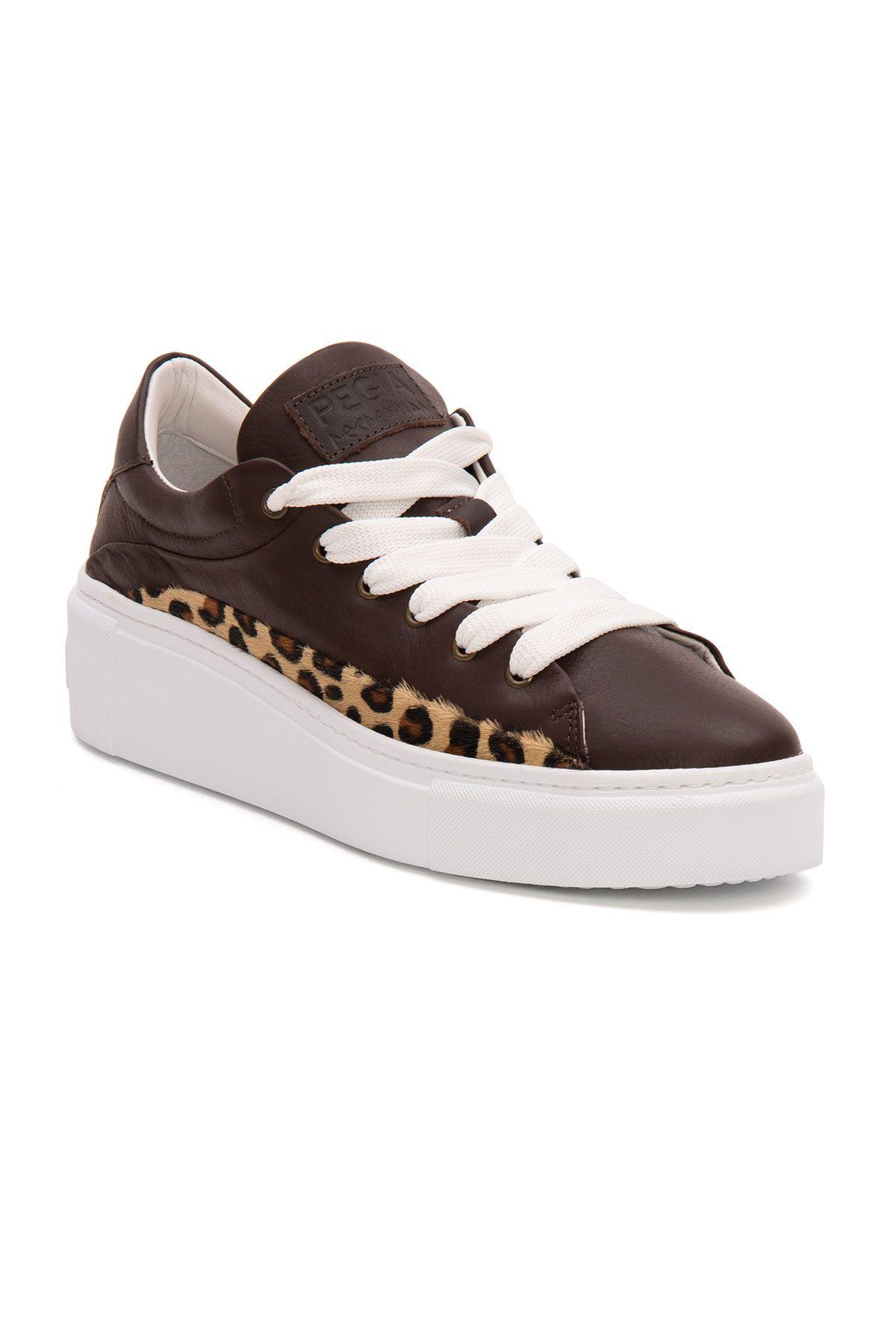 Pegia Genuine Leather Women's Sneaker LA1627 Brown