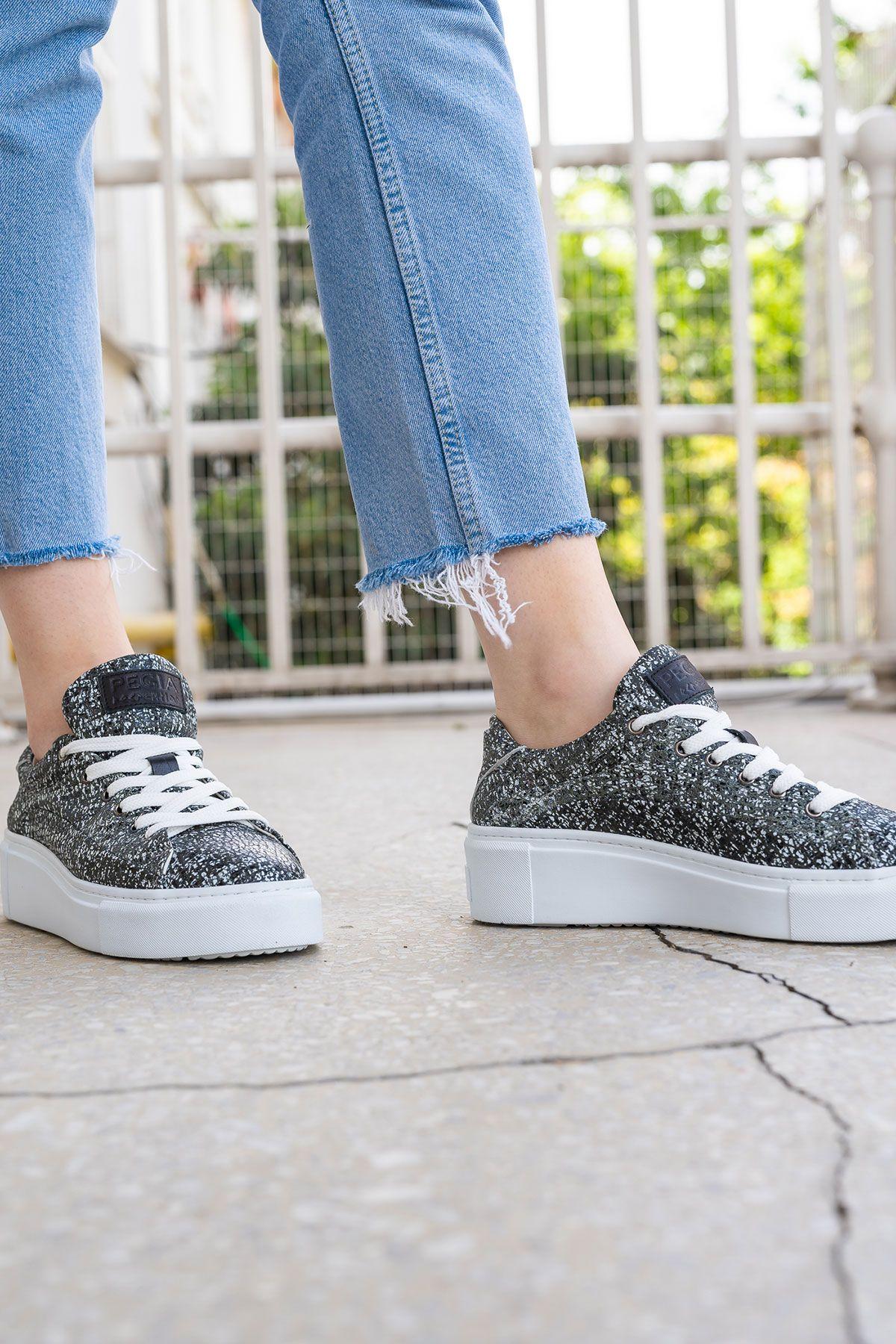 Pegia Genuine Leather Women's Sneaker LA1634 Anthracite-colored