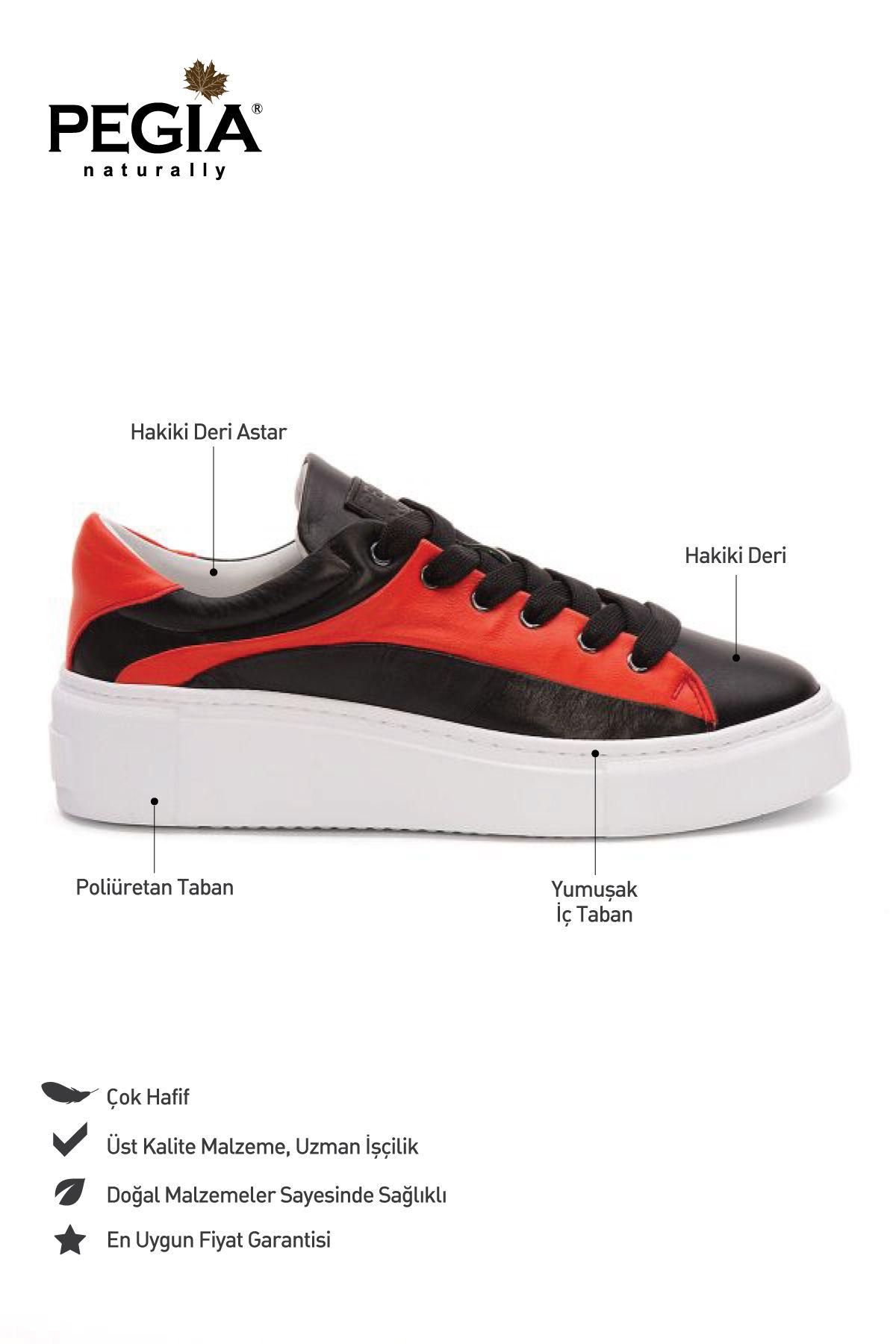 Pegia Genuine Leather Women's Sneaker LA1635 Black