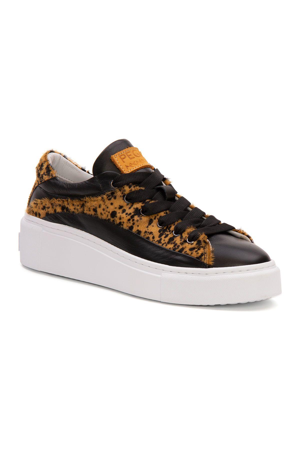 Pegia Genuine Leather Women's Sneaker LA1639 Black