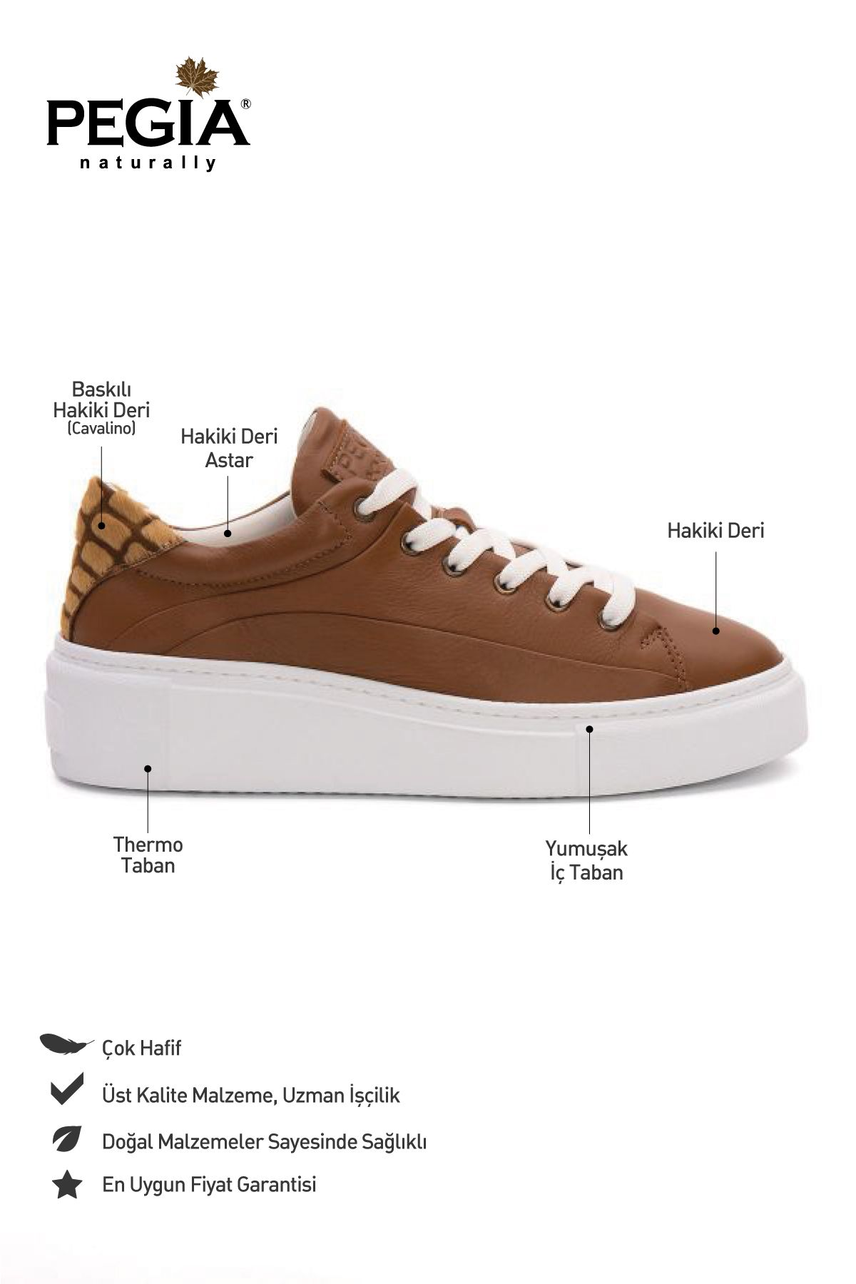 Pegia Genuine Leather Women's Sneaker LA1640 Ginger