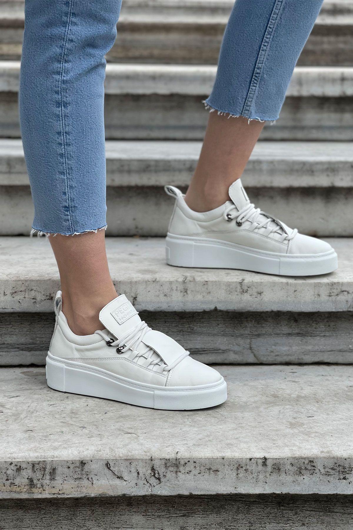 Pegia Genuine Leather Women's Sneaker LA1701 White