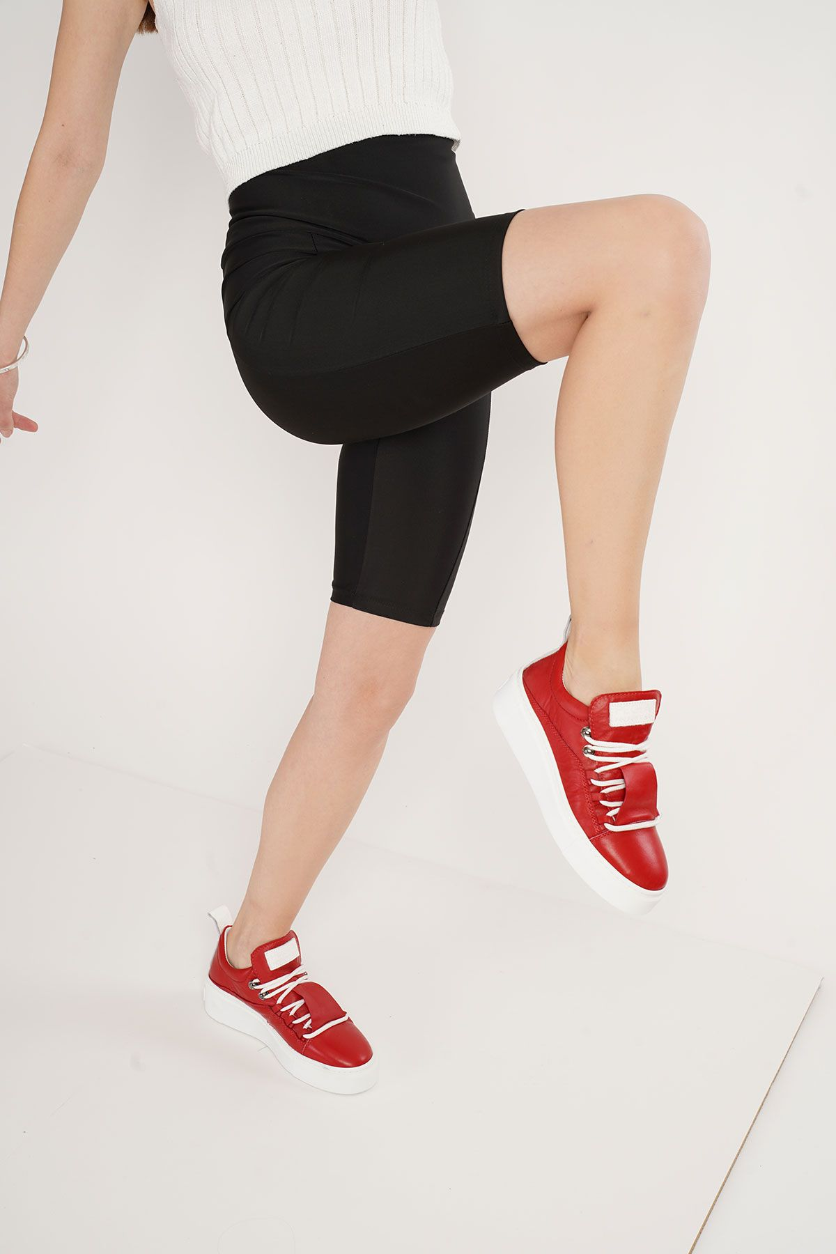 Pegia Genuine Leather Women's Sneaker LA1708 Red