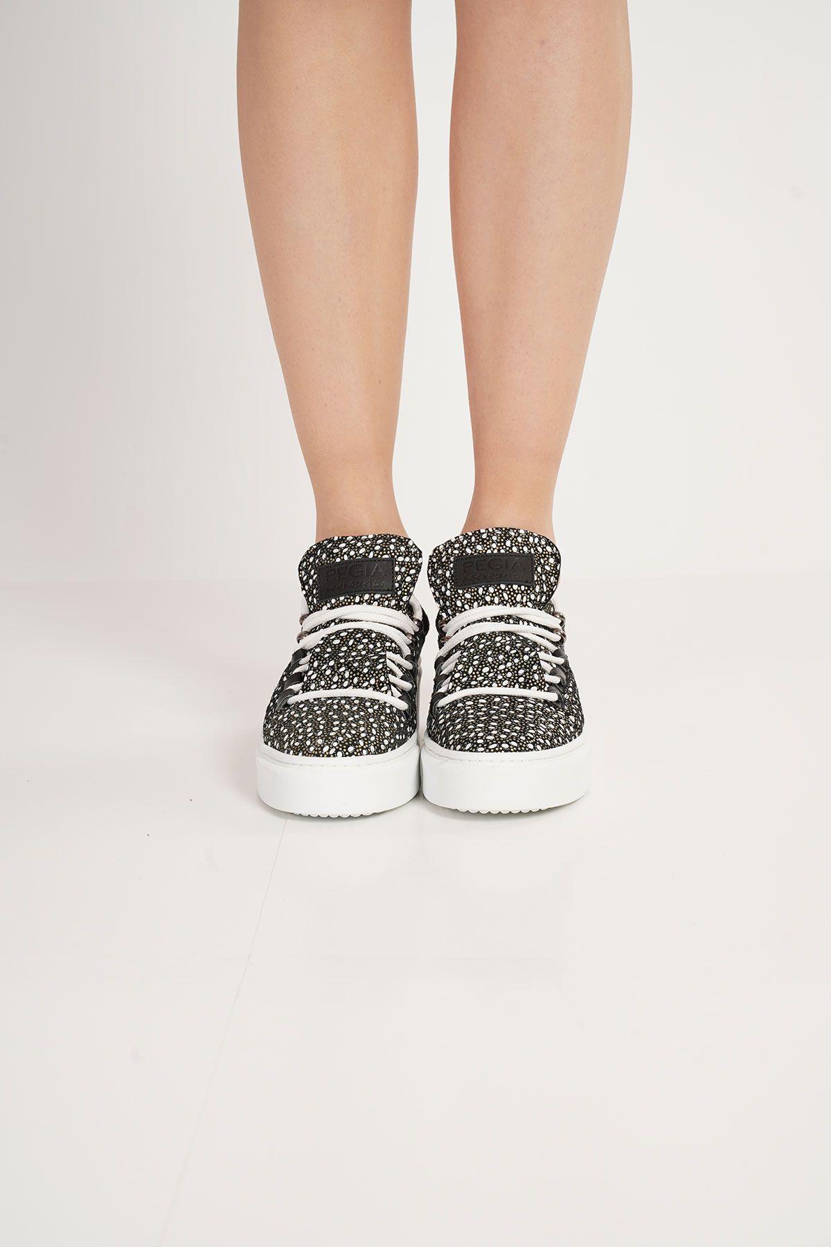 Pegia Genuine Leather Women's Sneaker LA1710 Black