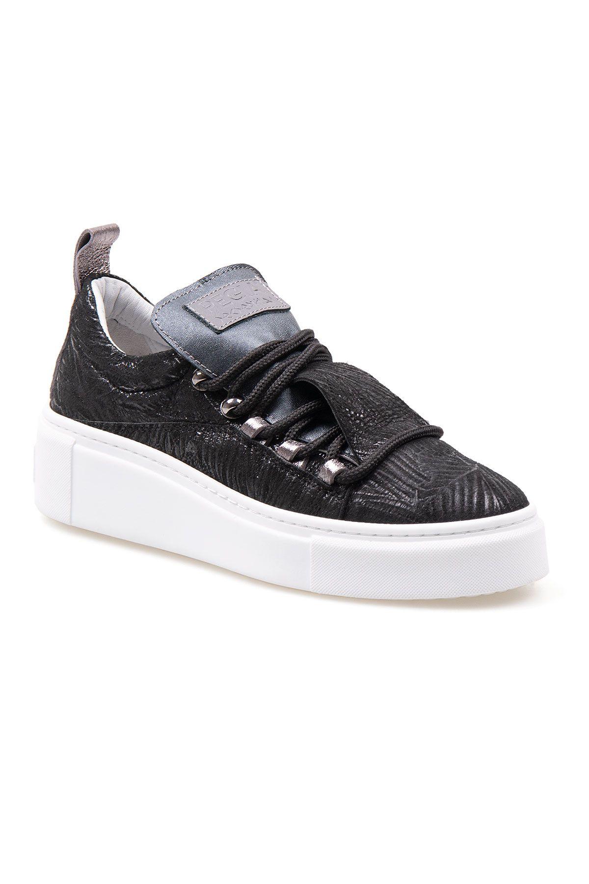 Pegia Genuine Leather Women's Sneaker LA1714 Black
