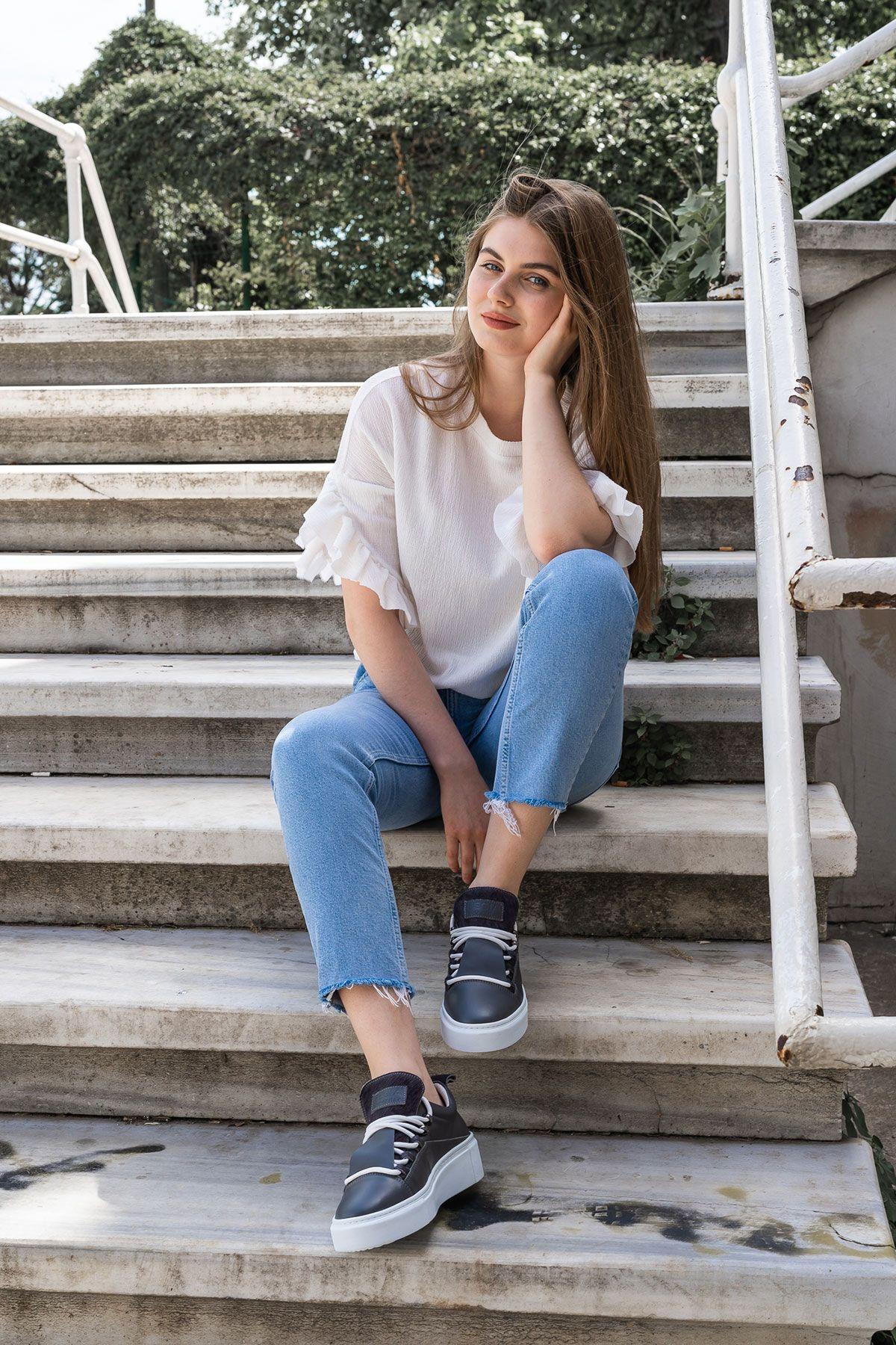 Pegia Genuine Leather Women's Sneaker LA1718 Gray