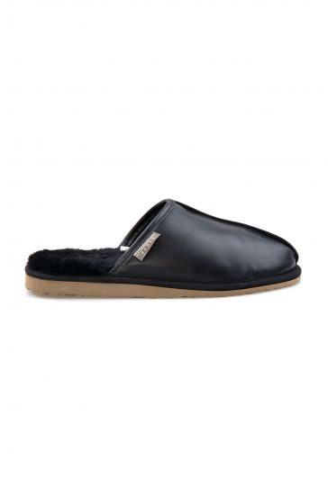 Pegia Genuine Leather Men's House Slippers 111012 Black